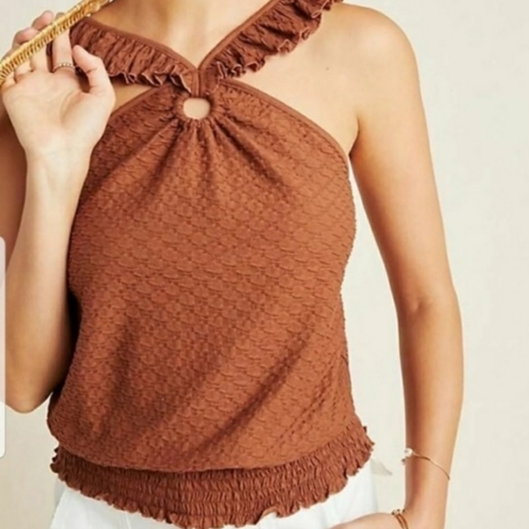 Anthropologie Marisol Ruffle Halter Top Size Small